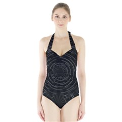 Abstract Black White Geometric Arcs Triangles Wicker Structural Texture Hole Circle Halter Swimsuit