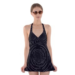 Abstract Black White Geometric Arcs Triangles Wicker Structural Texture Hole Circle Halter Swimsuit Dress