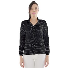 Abstract Black White Geometric Arcs Triangles Wicker Structural Texture Hole Circle Wind Breaker (Women)