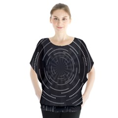 Abstract Black White Geometric Arcs Triangles Wicker Structural Texture Hole Circle Blouse
