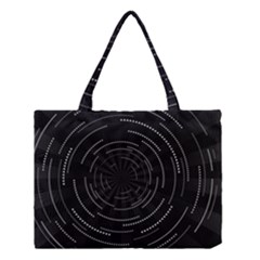 Abstract Black White Geometric Arcs Triangles Wicker Structural Texture Hole Circle Medium Tote Bag
