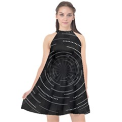 Abstract Black White Geometric Arcs Triangles Wicker Structural Texture Hole Circle Halter Neckline Chiffon Dress