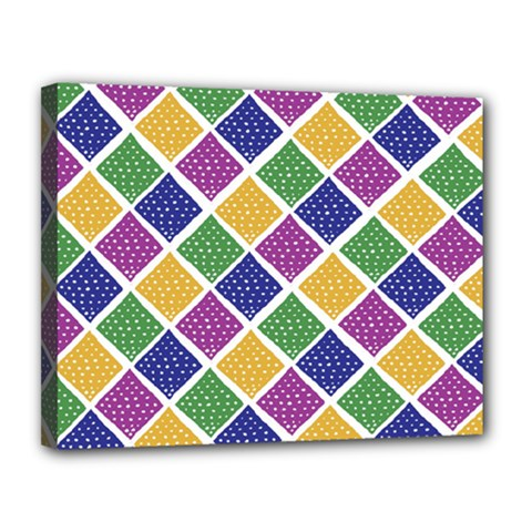 African Illutrations Plaid Color Rainbow Blue Green Yellow Purple White Line Chevron Wave Polkadot Canvas 14  x 11