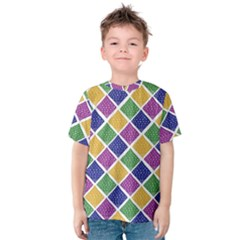 African Illutrations Plaid Color Rainbow Blue Green Yellow Purple White Line Chevron Wave Polkadot Kids  Cotton Tee