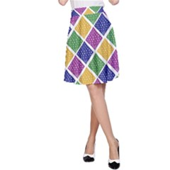 African Illutrations Plaid Color Rainbow Blue Green Yellow Purple White Line Chevron Wave Polkadot A-Line Skirt