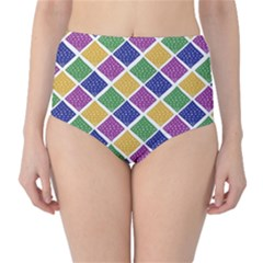 African Illutrations Plaid Color Rainbow Blue Green Yellow Purple White Line Chevron Wave Polkadot High-Waist Bikini Bottoms