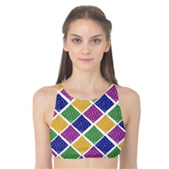 African Illutrations Plaid Color Rainbow Blue Green Yellow Purple White Line Chevron Wave Polkadot Tank Bikini Top