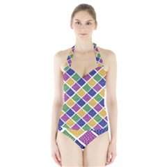 African Illutrations Plaid Color Rainbow Blue Green Yellow Purple White Line Chevron Wave Polkadot Halter Swimsuit