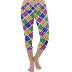 African Illutrations Plaid Color Rainbow Blue Green Yellow Purple White Line Chevron Wave Polkadot Capri Yoga Leggings