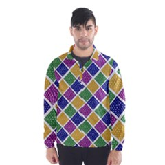 African Illutrations Plaid Color Rainbow Blue Green Yellow Purple White Line Chevron Wave Polkadot Wind Breaker (Men)