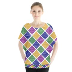African Illutrations Plaid Color Rainbow Blue Green Yellow Purple White Line Chevron Wave Polkadot Blouse