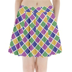 African Illutrations Plaid Color Rainbow Blue Green Yellow Purple White Line Chevron Wave Polkadot Pleated Mini Skirt