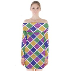 African Illutrations Plaid Color Rainbow Blue Green Yellow Purple White Line Chevron Wave Polkadot Long Sleeve Off Shoulder Dress