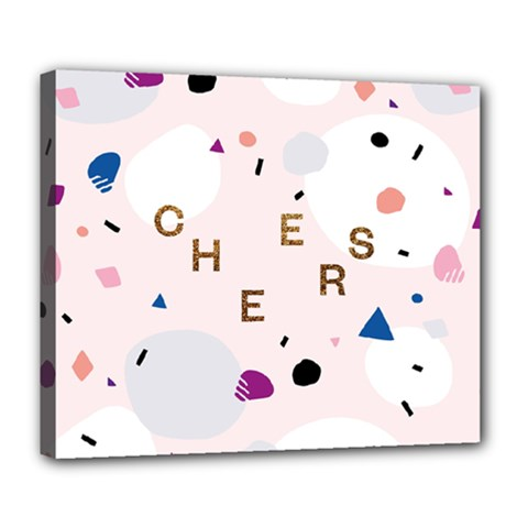 Cheers Polkadot Circle Color Rainbow Deluxe Canvas 24  x 20