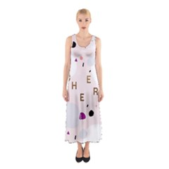 Cheers Polkadot Circle Color Rainbow Sleeveless Maxi Dress