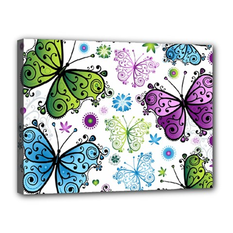 Butterfly Animals Fly Purple Green Blue Polkadot Flower Floral Star Canvas 16  x 12