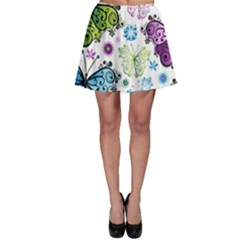 Butterfly Animals Fly Purple Green Blue Polkadot Flower Floral Star Skater Skirt