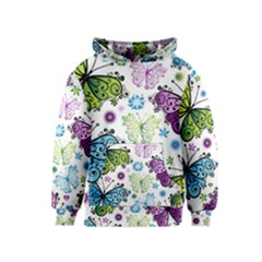 Butterfly Animals Fly Purple Green Blue Polkadot Flower Floral Star Kids  Pullover Hoodie