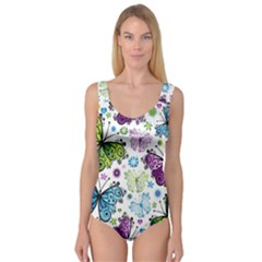 Butterfly Animals Fly Purple Green Blue Polkadot Flower Floral Star Princess Tank Leotard