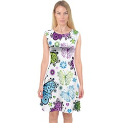 Butterfly Animals Fly Purple Green Blue Polkadot Flower Floral Star Capsleeve Midi Dress