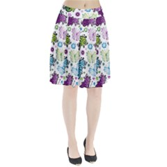 Butterfly Animals Fly Purple Green Blue Polkadot Flower Floral Star Pleated Skirt