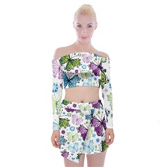 Butterfly Animals Fly Purple Green Blue Polkadot Flower Floral Star Off Shoulder Top With Skirt Set