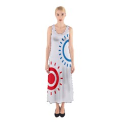 Color Light Effect Control Mode Circle Red Blue Sleeveless Maxi Dress