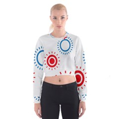 Color Light Effect Control Mode Circle Red Blue Cropped Sweatshirt