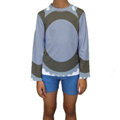Circle Round Grey Blue Kids  Long Sleeve Swimwear