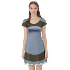 Circle Round Grey Blue Short Sleeve Skater Dress