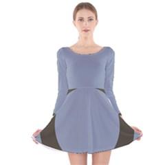 Circle Round Grey Blue Long Sleeve Velvet Skater Dress