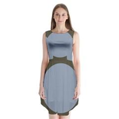 Circle Round Grey Blue Sleeveless Chiffon Dress