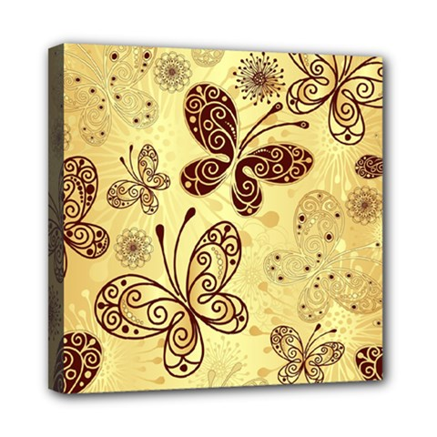 Butterfly Animals Fly Purple Gold Polkadot Flower Floral Star Sunflower Mini Canvas 8  x 8