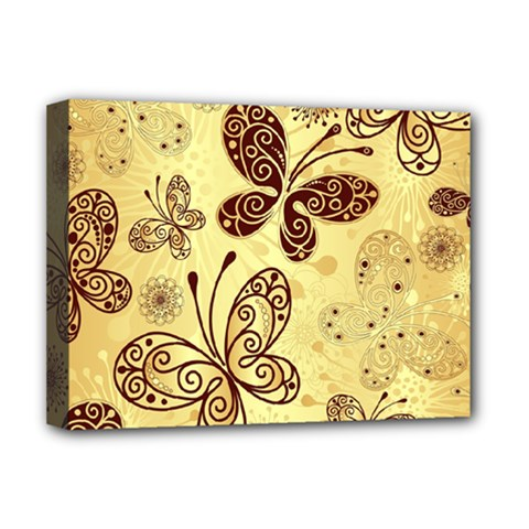 Butterfly Animals Fly Purple Gold Polkadot Flower Floral Star Sunflower Deluxe Canvas 16  x 12