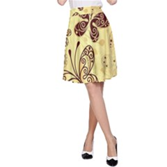 Butterfly Animals Fly Purple Gold Polkadot Flower Floral Star Sunflower A-Line Skirt