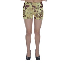 Butterfly Animals Fly Purple Gold Polkadot Flower Floral Star Sunflower Skinny Shorts