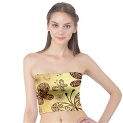 Butterfly Animals Fly Purple Gold Polkadot Flower Floral Star Sunflower Tube Top