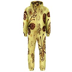 Butterfly Animals Fly Purple Gold Polkadot Flower Floral Star Sunflower Hooded Jumpsuit (Men)
