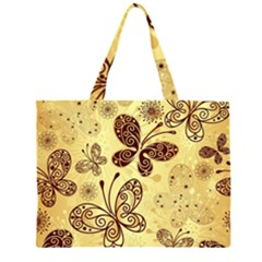 Butterfly Animals Fly Purple Gold Polkadot Flower Floral Star Sunflower Large Tote Bag