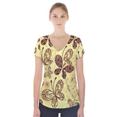 Butterfly Animals Fly Purple Gold Polkadot Flower Floral Star Sunflower Short Sleeve Front Detail Top