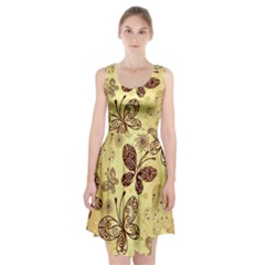 Butterfly Animals Fly Purple Gold Polkadot Flower Floral Star Sunflower Racerback Midi Dress
