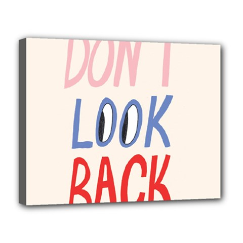 Don t Look Back Big Eye Pink Red Blue Sexy Canvas 14  x 11