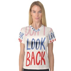 Don t Look Back Big Eye Pink Red Blue Sexy Women s V-Neck Sport Mesh Tee