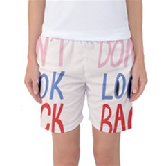Don t Look Back Big Eye Pink Red Blue Sexy Women s Basketball Shorts