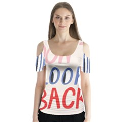 Don t Look Back Big Eye Pink Red Blue Sexy Butterfly Sleeve Cutout Tee