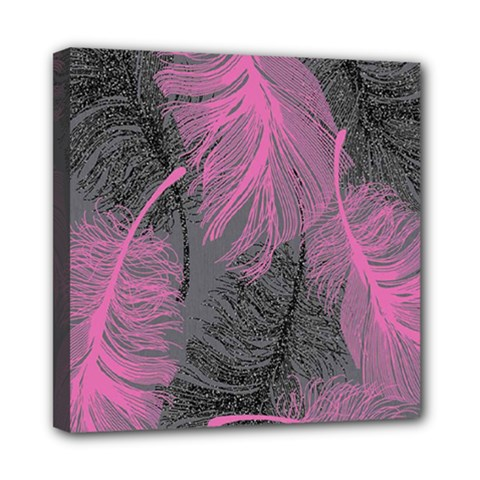 Feathers Quill Pink Grey Mini Canvas 8  x 8