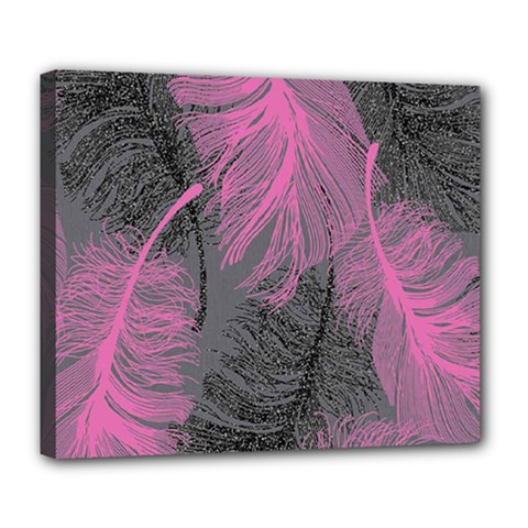 Feathers Quill Pink Grey Deluxe Canvas 24  x 20