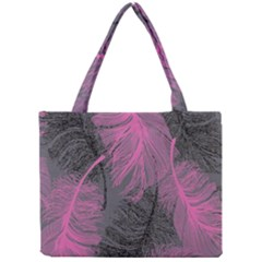 Feathers Quill Pink Grey Mini Tote Bag