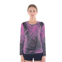 Feathers Quill Pink Grey Women s Long Sleeve Tee