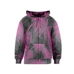 Feathers Quill Pink Grey Kids  Zipper Hoodie